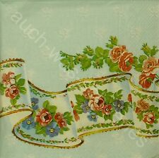 6 Servietten Napkins Rosen - Blumen - Bordüre - Palais Rose - blue - rar - ro130