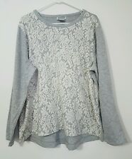 NWOT WOMEN'S FLORAL TOP SWEATER GRAY VERY SOFT LONG SLEEVES PLUS SIZE XXL