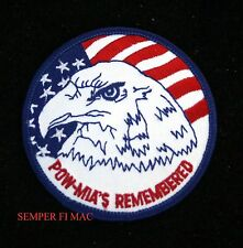 VIETNAM POW-MIA'S REMEMBERED PATCH BALD EAGLE US NAVY ARMY MARINES AIR FORCE USA