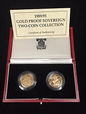 1989 / 91  Great Britain UK 2-Coin Gold Proof Set (w/Box & COA) RARE Hard to Get