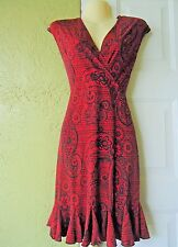 Glamour Womens Dress Size 4P Red Paisley Career Silky Dress