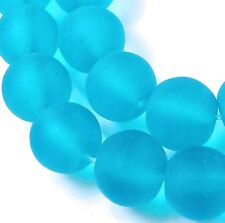 25 Frosted Sea Glass Round Beads Matte - Caribbean Blue 8mm