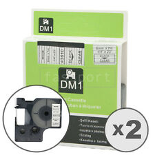 2pk Black on Clear Tape Label Compatible for DYMO 43610 D1 6mm 1/4""