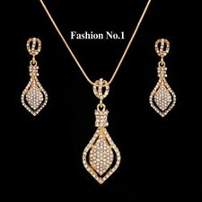 NEW 2015  GOLD PLATED TEAR DROP WITH AUSTRIAN CRYSTALS NECKLACE EARRING SET