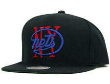 Mitchell and Ness NBA New York Nets Old School Logo Black Team Snapback Cap