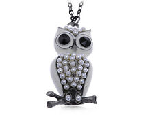 Lovely Snow White Enamel Painted Pearl Body Beaded Owl Pendant Costume Necklace