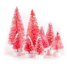 Darice Miniature Bottle Brush Sisal Christmas Trees - Pink w/Snow Tips 8pc Set