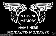 In Loving Memory Of Decal Window Sticker Personalized Memorial car WHITE VINYL
