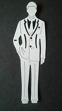 5 xTATTERED LACE GEORGE GENTLEMAN GROOM DIE CUTS-WHITE TOPPER/BDAY/ WEDDING/CARD