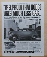 1937 magazine ad for Dodge - Uses Much Less Gas, Make the Free Economy test