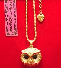 Betsey Johnson Fashion Jewelry- Cute Little Gold-Toned Owl Necklace - USA Seller