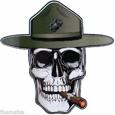 MARINE CORPS USMC DRILL INSTRUCTOR MADE IN USA 5X5  INCH SKULL DECAL STICKER