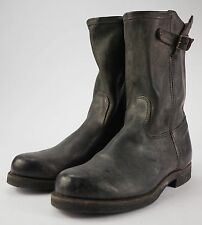 FRYE Brown Leather Buckled Engineer Ankle Boots 11 Made in the USA