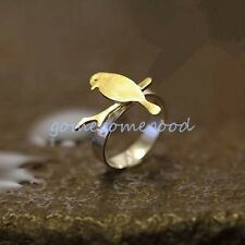 925 Sterling Silver -Size 7 Chic Golden Bird on Branch Adjustable Lady Club Ring