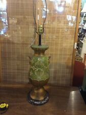 Italian Gold Gil Florentine Green Gold Urn Lamp Hollywood Regency ER