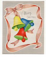 Vintage Grinnell Christmas Greeting Card Colorful Christmas Bells
