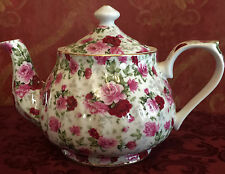 Tea Pot,  Porcelain 34oz Teapot In Red Rose Chintz Pattern