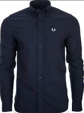 Genuine Fred Perry Navy Classic Oxford long sleeved shirt L