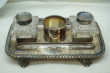 ANTIQUE INKWELL STAND SILVERPLATE 2 GLASS JARS FOOTED TRAY PEN HOLDER INK WELL