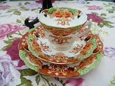 Vintage / Antique English China Trio Tea Cup Saucer Plate Rust Green Floral 3868