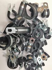 ASSORTED PACK RUBBER LINED P CLIPS STAINLESS STEEL QTY 35