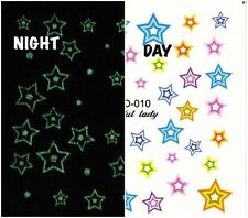 Nail Art Water Decals Glow in the Dark Stars Luminous Night Time GID010