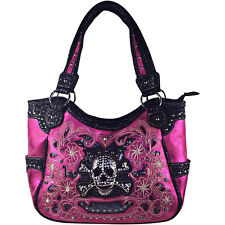 HOT PINK FLOWER RHINESTONE SKULL LEATHERETTE SHOULDER HANDBAG CONCEALED CARRY