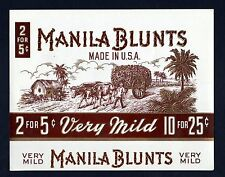 Manila Blunts Cigar Box Label Gilt Ox Cart Palms Very Mild 2 for 5 cents Mint