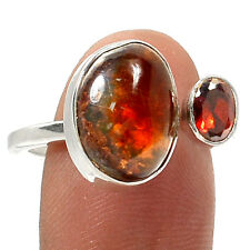 Mexican Fire Agate & Garnet 925 Silver Ring Jewelry s.9 RR30224