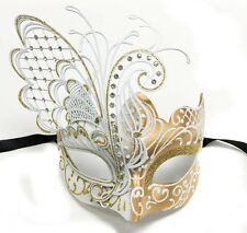 White/Gold Small Dream Butterfly Mardi Gras Halloween Ball Prom Masquerade Mask