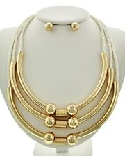 Three Layers Woven White Leatherette Gold Tone Tubes Necklace earring Set