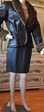 Caché Brown Leather Jacket and Skirt with Mink Collar. Size M