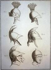 Encyclopédie Méthodique Antiquités Mythologie Casques Grecs et Romains 1786