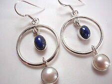 Lapis and Cultured Pearl Hoop Earrings Dangle Drop 925 Sterling Silver New