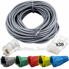 30 Meter RJ45 CAT5e Ethernet LAN Network Cable With Crimp End Connectors Boots