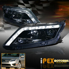 2010 2011 2012 Ford Fusion Projector Black Headlights W/ LED Driving Light Strip