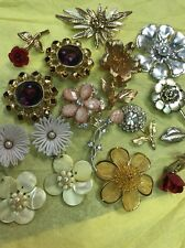 Vintage Lot  Flower Brooches And Earrings Three Pair Of Earrings Nine Brooches