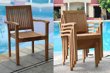 Leveb Grade-A Teak Wood Dining Stacking Arm Chair Outdoor Garden Furniture