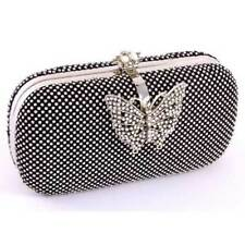 STUNNING BLACK BUTTERFLY RHINESTONE MINAUDIERE CASE PURSE CLUTCH HANDBAG