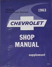 1963 Chevy Car Bel Air Biscayne Impala Shop Service Repair Manual Supplement