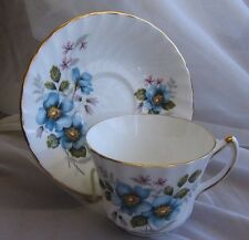 Royal Kendall Blue Dogwood Fine Bone China Tea Cup and Saucer Set Vintage