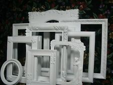 Lot of (11) White Shabby Open Picture Frames~Wood~Vintage~Ornate~Wedding!