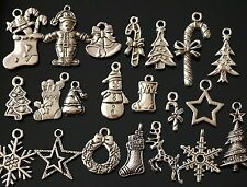 50x Mixed Tibetan Silver Christmas Charms Pendants Mixed (TSC107)