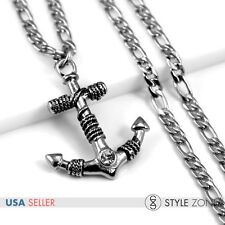 Men's Stainless Steel Gothic Vintage Rope Anchor Pendant NK Necklace Pirate P35