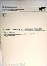 DATI PER LA VERIFICA DEI PROGRAMMI TRASMESSI TERZA RETE TV 1979 Sociologia di e