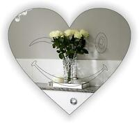 """Acrylic Mirror"" -Heart Shaped Engraved ""PACK OF 6"" for indoor/Outdoor FREE PP"
