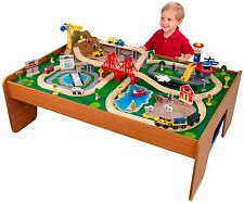 Toy Train Table Set Wood Kids Storage Bins 100 Pieces Colorful Children's Play