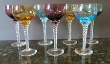 Lot of 7  Multi Colored Crystal Cordial/Apertif Goblets Glasses Swirl Stem