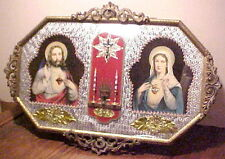 GORGEOUS VINTAGE JESUS MARY SACRED HEART CONVEX ROUNDED GLASS GOLD FRAME PICTURE