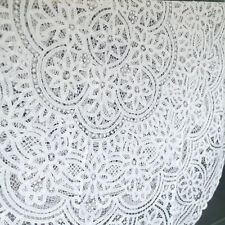 "Gorgeous 66"" Round FULL Battenburg Lace White Cotton Tablecloth Topper Doily"